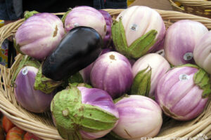Basket of rosa bianca eggplants